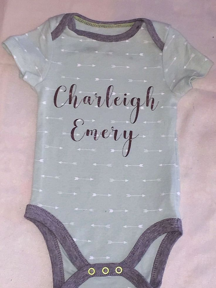 Baby Onesie With First And Middle Name Made Iron On Cricut Machine Great