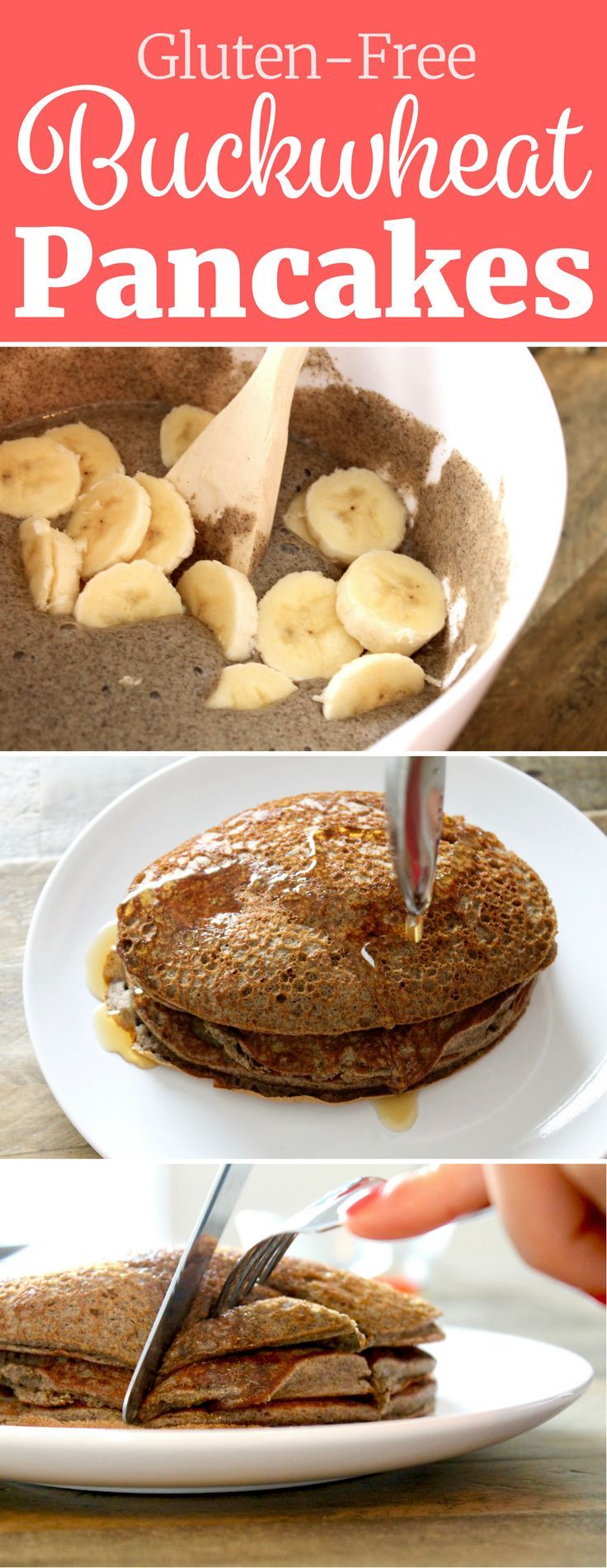 You would NEVER know that these Buckwheat Pancakes are gluten-free! They're fluffy and SO delicious! // www.littlechefbigappetite.com // Buckwheat Banana Pancakes, Buckwheat Flour, Healthy Pancakes, Gluten-Free Pancakes, Banana Pancakes