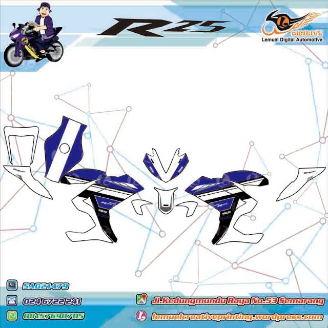 Custom decal Vinyl Full Body Striping Motor Yamaha R25 ThemaYamaha Motor Indonesia Original Berkualitas by DIGITIVE