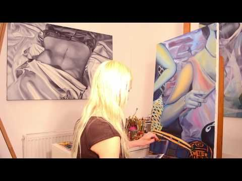 """Step by step, speed oil painting of """"Drumming beat"""" artwork by Oana Unci..."""