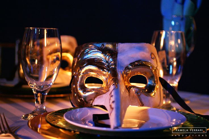 A night of intrigue! Event planning | Tablescape | Place setting | Masks  | Event Design by PamelaFerrariProductions.com