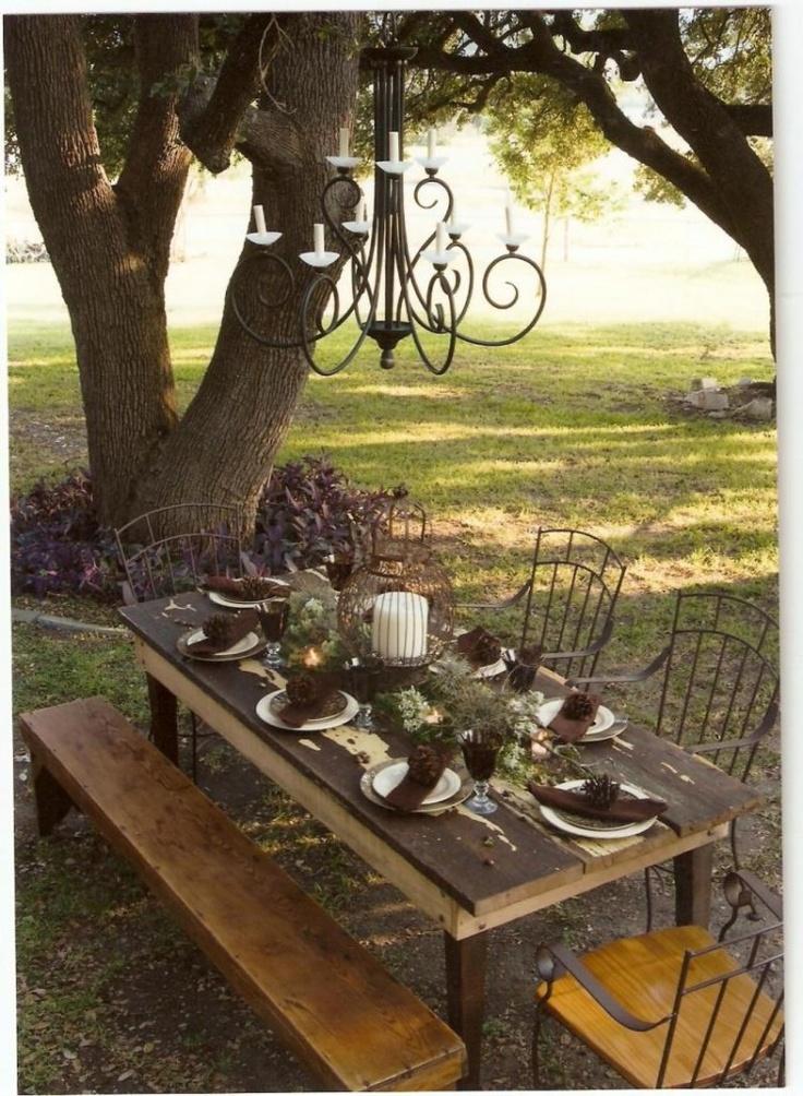 lovely: Outdoor Dreams, Backyard Dreams, Backyard Dinners, Outdoor Chandeliers, Trees Branches, Dinners Dreams, Outdoor Parties, Outdoors Patio, Outdoor Backyard
