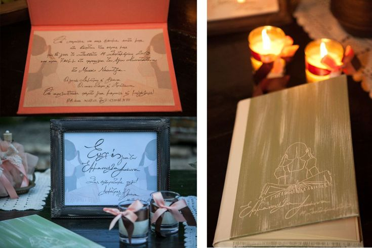 Handwritten invitation card, guest book