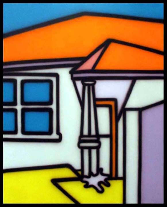Howard Arkley (1951 - 1999) One of his classic Colour Field Home's painted in 1999 - a year full of prosperity and promise, yet ended in his untimely passing.. Painted with an airbrush Synthetic polymer paint on canvas 100 x 80cm A highly collectable artist.