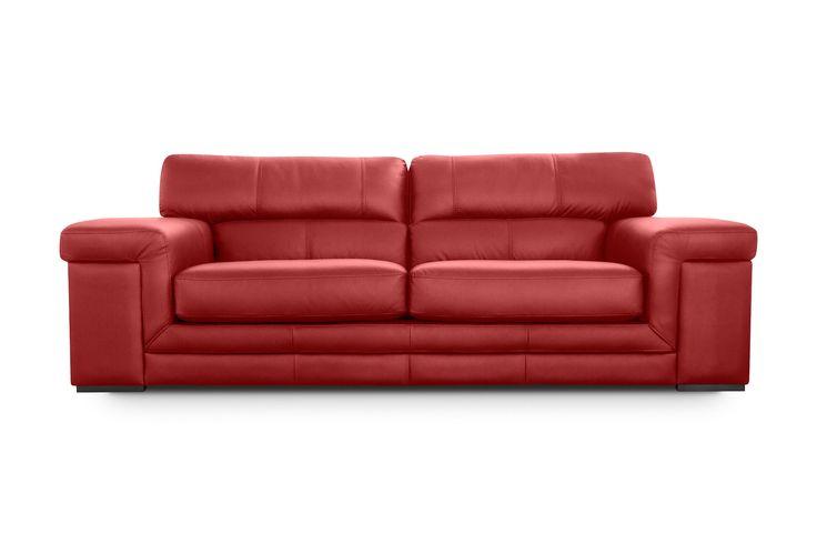 Sofá de Piel Andreas Rojo Cardenal