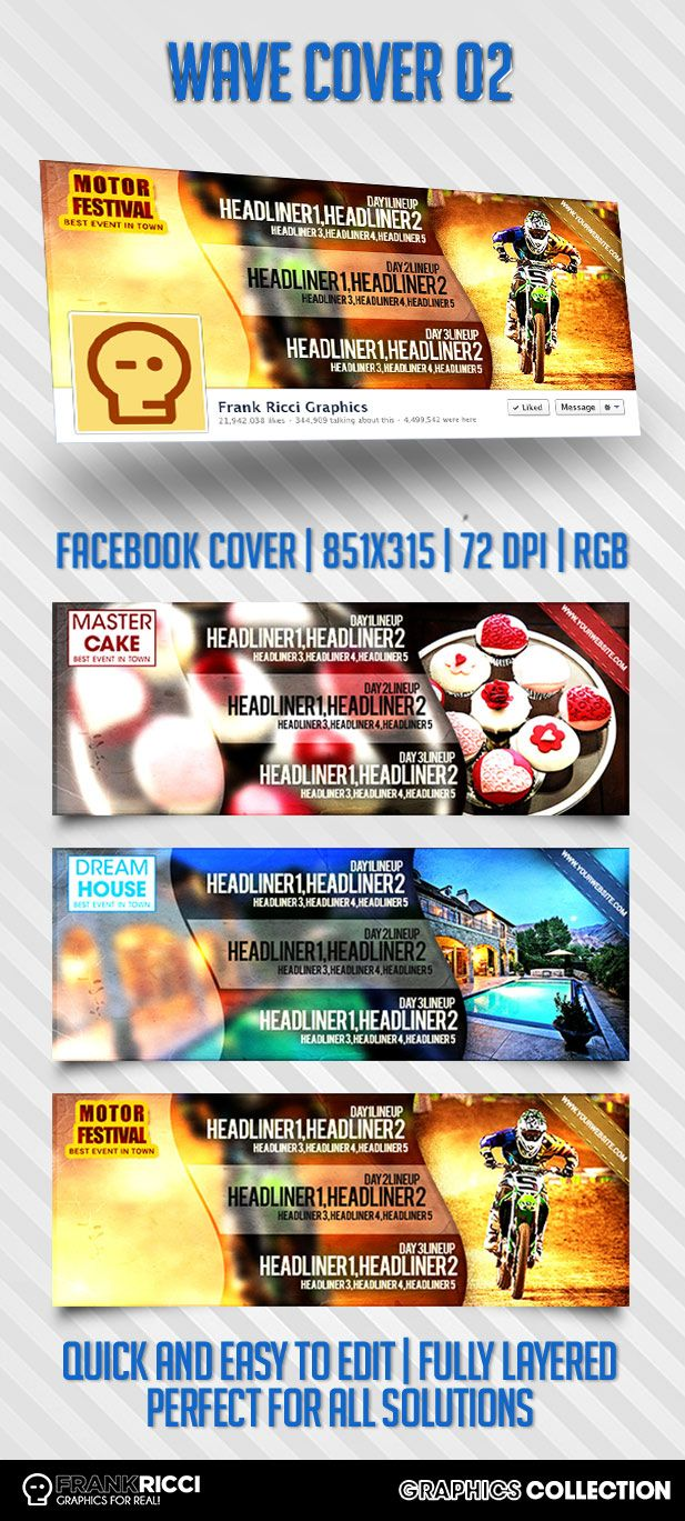 Cover Facebook Wave 02 Template - Available on http://frankricci.it/wave-cover-02/