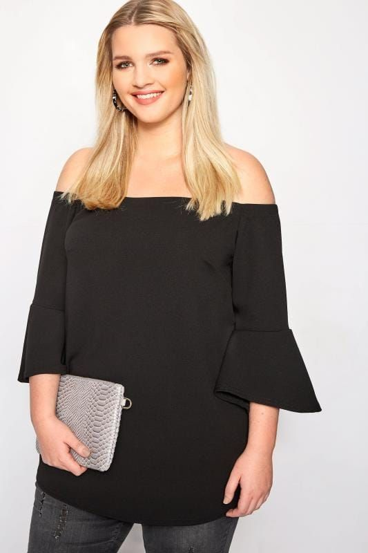 6279f89f98ec02 Plus Size Bardot & Cold Shoulder Tops LIMITED COLLECTION Black Bardot Top  With Flute Sleeves