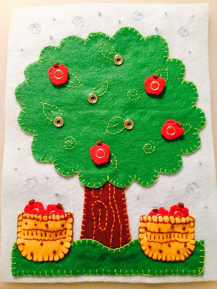 I really like all the hand embroidery on this Quiet book apple page