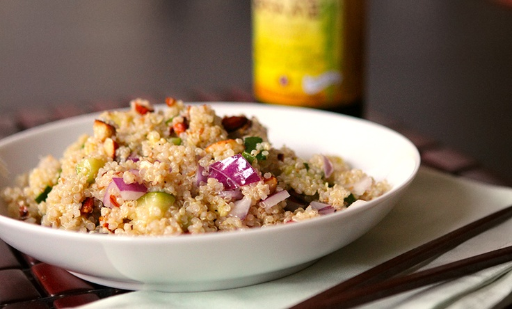 quinoa salad with zucchini, almonds, and toasted sesame dressing.