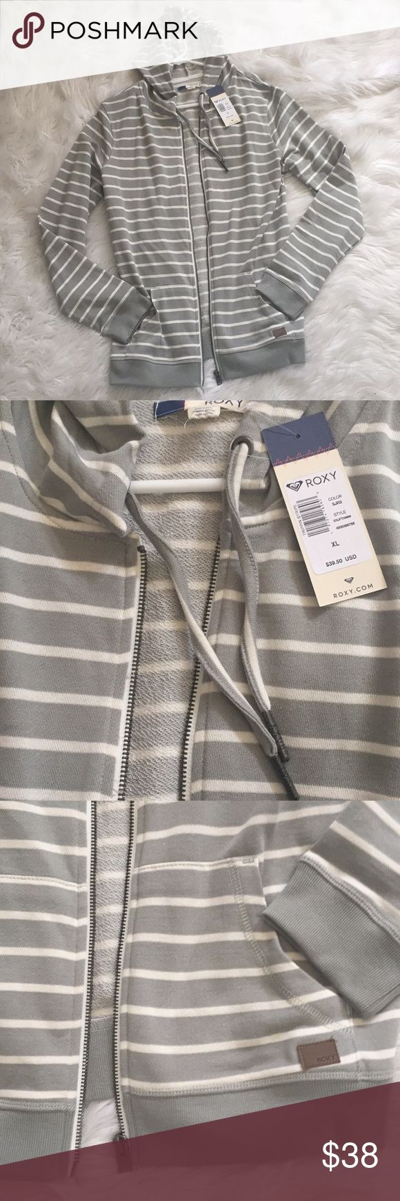 Roxy striped zip up hoodie Roxy striped zip up hoodie Roxy Jackets & Coats