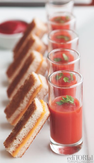 Mini Grilled Cheese Sandwiches With Tomato Soup Shots