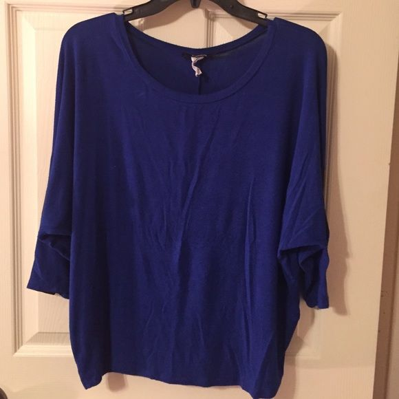 Top Blue Batwing Top with Black Leather Strips Down the Arms as A Design Tops Tees - Short Sleeve
