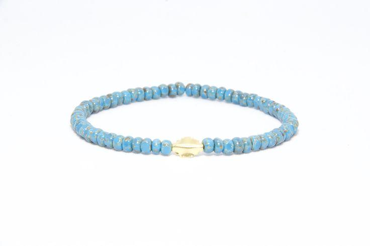 18K Solid Yellow Gold Beaded Bracelet Blue Beads - Men's & Women's Stylish & Unique Bracelets
