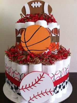 2 Tier Sports Diaper Cake Boy Baby Shower by BabeeCakesBoutique, $45.00 by…