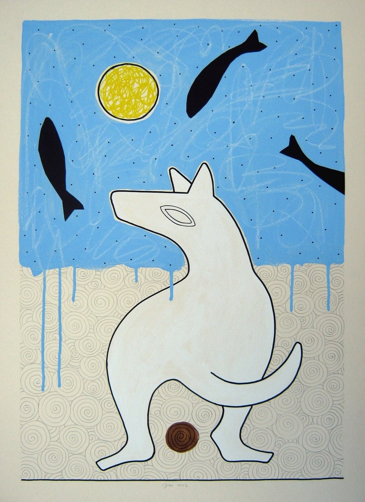"andrea mattiello ""white dog""    acrilico,grafite,pastello e collage su cartone vegetale cm 51,5x72; 2012"