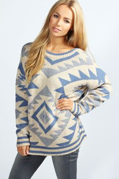 Alaya Oversized Aztec Knit Jumper at boohoo.com