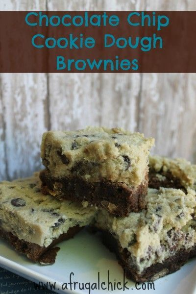 Brownies, Chocolate Chip Cookie and Chocolate Chip Cookie Dough