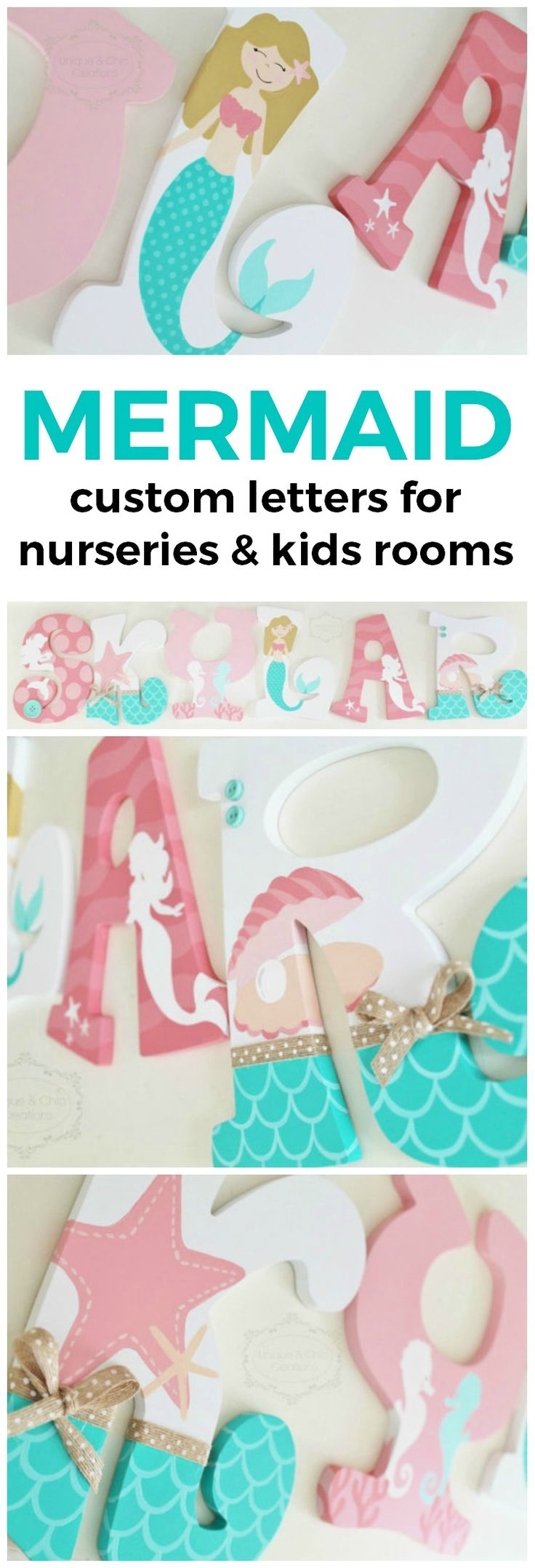 Coral and Mint Mermaid Themed Personalized Wooden Letters for Nursery | Unique and Chic Creations custom kids room letters