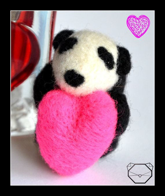 Panda Love  Gift  Valentines Day  Panda Bear  4.5 by KubuHandmade