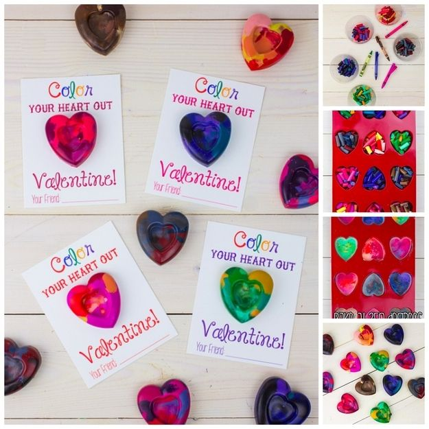 Heart Crayon Cards | 40 Unconventional DIY Valentine's Day Cards
