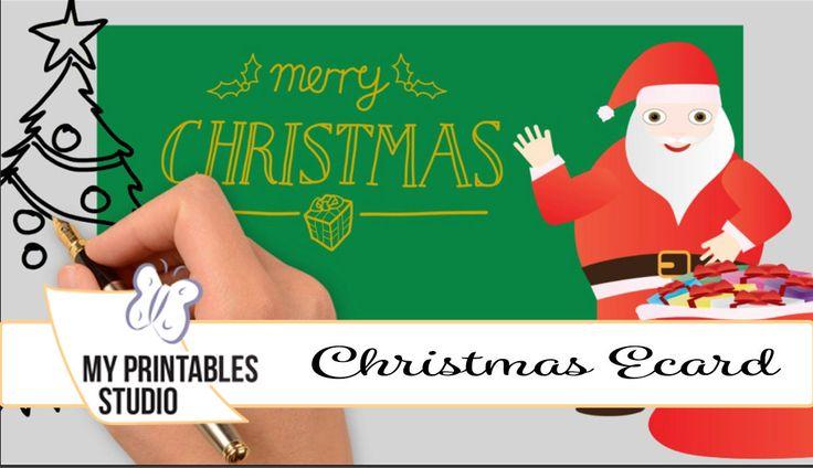 Custom Christmas video greeting card - Christmas ecard - Whiteboard video- Santa Claus, gift box, christmas tree -  HD video, MP4 format