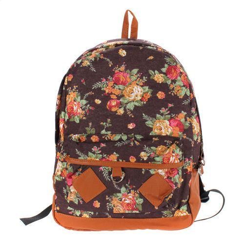 New Women Girl Vintage Cute Flower Schoolbag Bookbags Backpack Black Bag - US$17.90