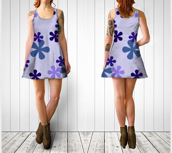 "Flare dress ""Blue Retro Flowers Flare Dress"" by Cori-Beth's Originals at Art of Where."