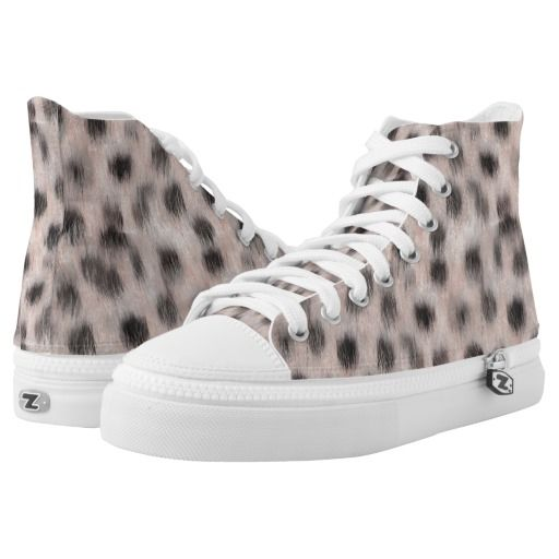 Pink Cheetah faux fur high tops