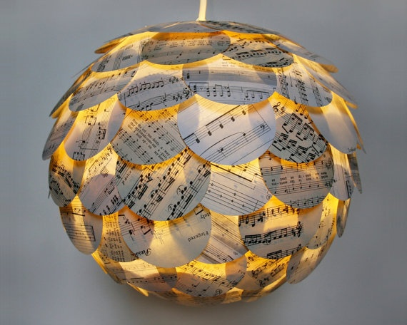 Hanging Lamp: Pendants Lamps, Music Pendants, Paper Lanterns, Hanging Paper, Sheet Music, Pendant Lights, Pendants Lights, Music Sheet, Artichokes Sheet