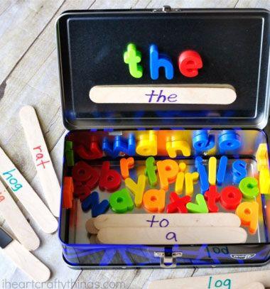 DIY Word building activity travel kit - learning toy for kids // Utazó szókirakó játék gyerekeknek mágneses betűkkel // Mindy - craft tutorial collection // #crafts #DIY #craftTutorial #tutorial #UpcyclingCraft  #TinCanCraft #Upcycling #RecyclingCraft