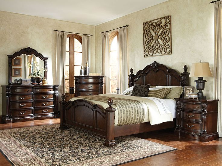 standard furniture churchill poster bedroom set in dark cherry