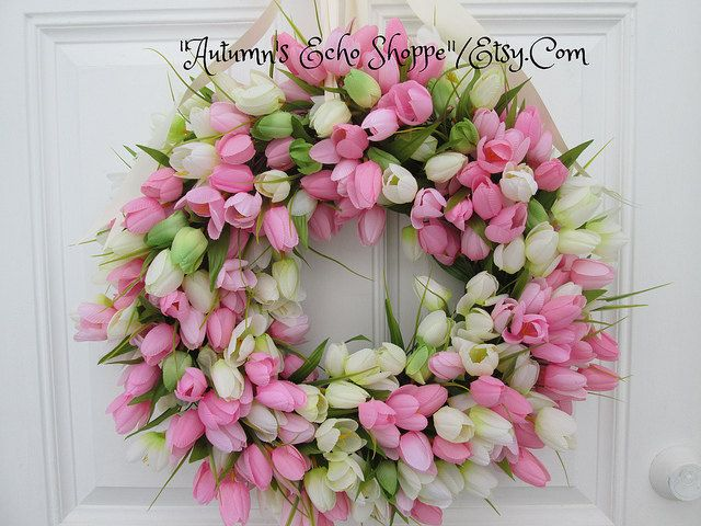361 best easter images on pinterest farm house styles bed spring tulip wreath spring door wreathtulip negle Choice Image