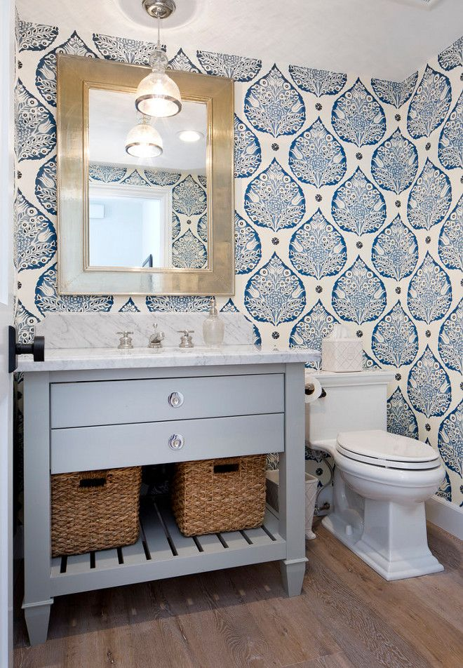 Best 25 bathroom wallpaper ideas on pinterest half for Powder blue bathroom ideas