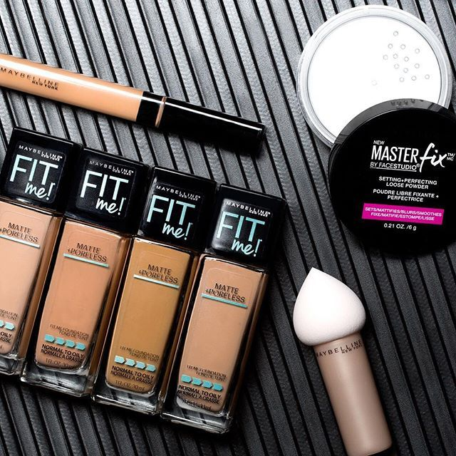 maybelline: Baking essentials! Sculpt your face and make flawlessness last ALL DAY with Fit Me! Matte Poreless foundation and concealer the #dreamblender and new #masterfix setting powder.