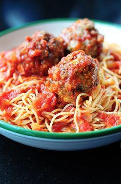 Classic Spaghetti and Meatballs - Recipe: Blend 1 c bread crumbs/1 LB ground round, 1 egg, any spices you like (garlic, italian seasoning, onion powder), and a tablespoon of milk. Fry up (or bake) tablespoon-sized meatballs. Pour sauce into pan with meatballs, add cooked spaghetti, heat through. Add grated parmesan to each plate at serving.