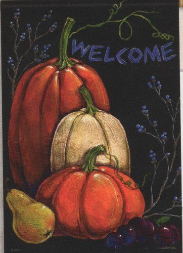 Primitive Fall Autumn Welcome Pumpkin Double Sided Garden Flag 13 X 18 By  Flag Trends.