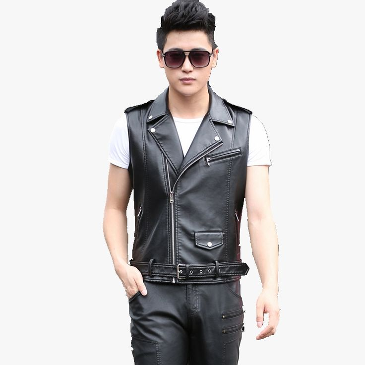 2016 new winter loose lapel motorcycle leather vest jacket Men's Pima youth fashion