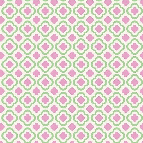 Kinderbehang Retro Bloem roze groen
