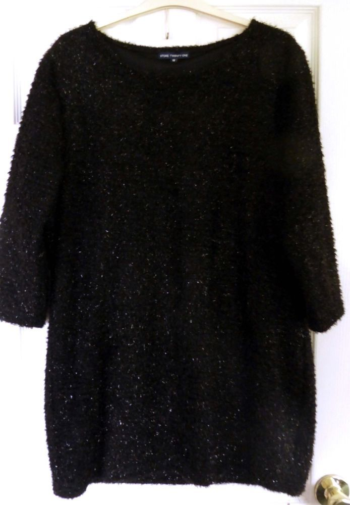 STORE TWENTY ONE LONG BLACK SPARKLY LINED PARTY JUMPER SIZE 18