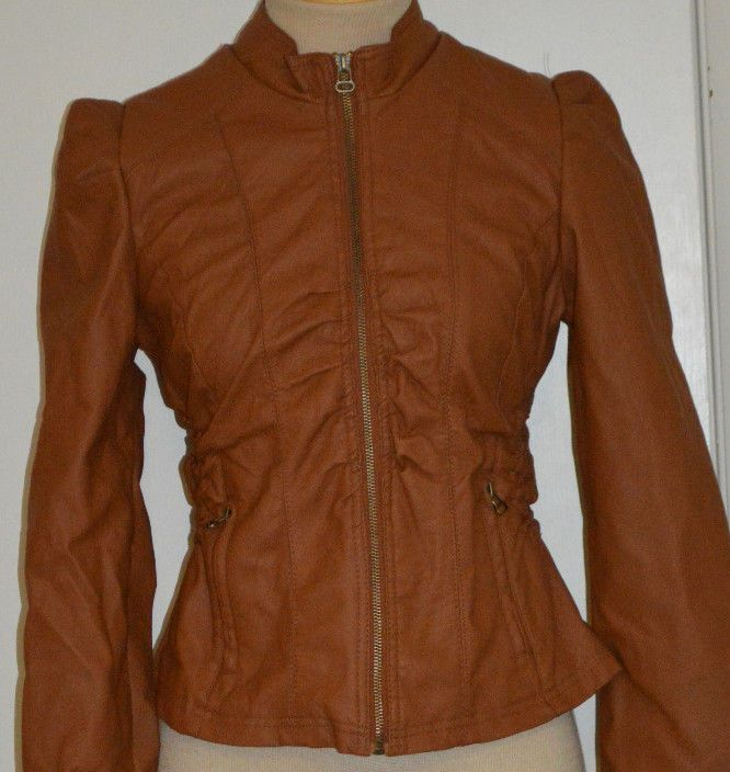 Ladies Rue 21 Brown Tan Faux Leather Jacket Coat Juniors Sizes Small, Medium #rue21 #BasicJacket