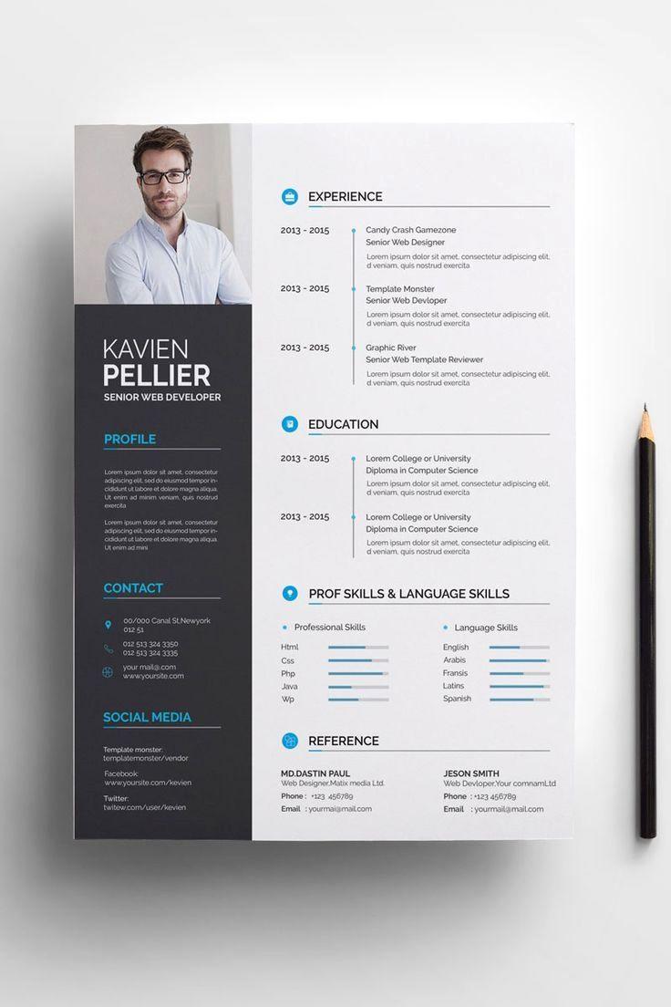 Clean And Creative Kavien Pellier Resume Template Cv Kreatif Desain Resume Desain Cv