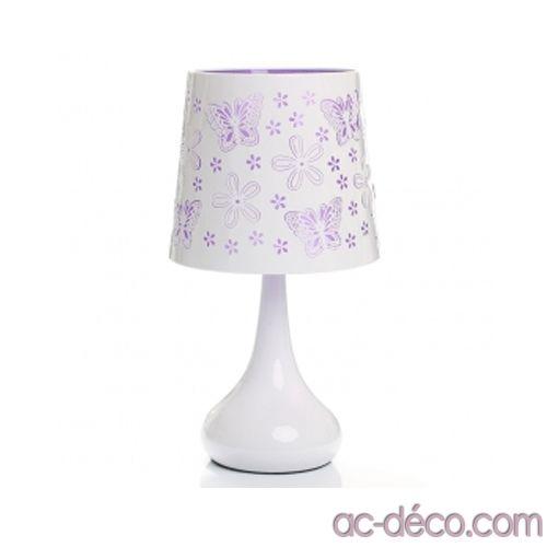 Lampe tactile papillons - Violet - Système d'allumage au toucher 24,99 € www.ac-deco.com #lampe #tactile #violet #blanc