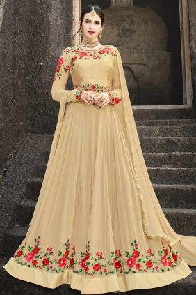 020db85adf1  Eid  Dresses - Buy beige georgette eid  anarkali Suit  Online in UK -   ShopKund