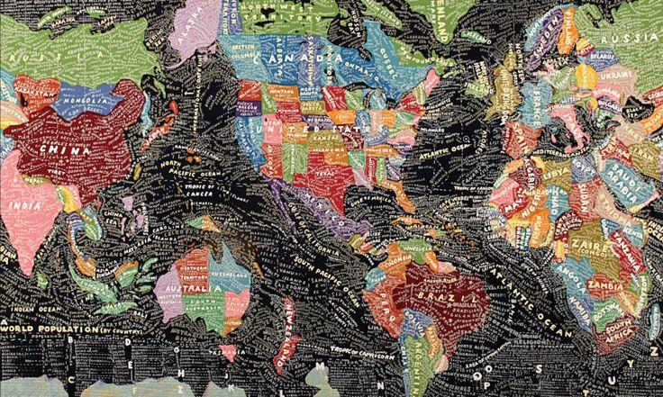 Layered map of world