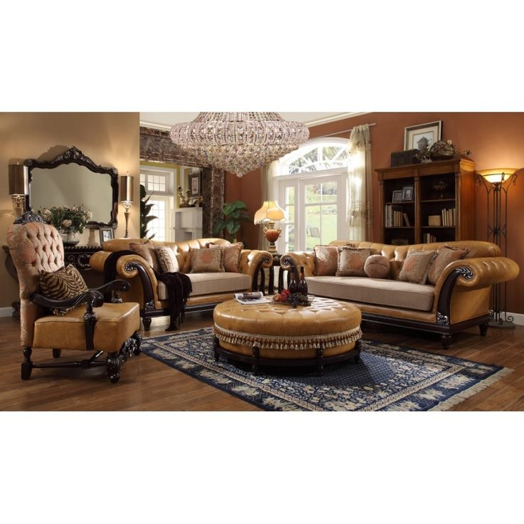 Sofa Sleeper Homey Design HD Royal Victorian Camel Tufted Leather Finish Chesterfield Design Sofa Set With Plush Cushion
