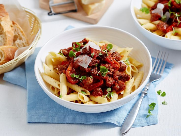 This quick Italian sausage pasta dish is perfect for busy weeknight meals. With healthy chargrilled capsicum and a spicy tomato sauce, it'll be your new go-to recipe when you don't have time to cook!