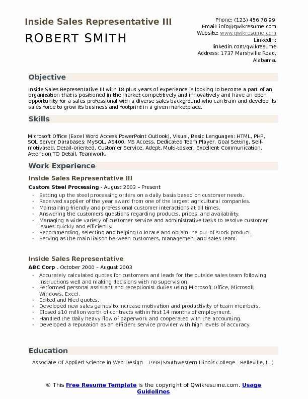 Unique Inside Sales Representative Resume Samples Sales Resume Examples Sales Job Description Job Resume Examples