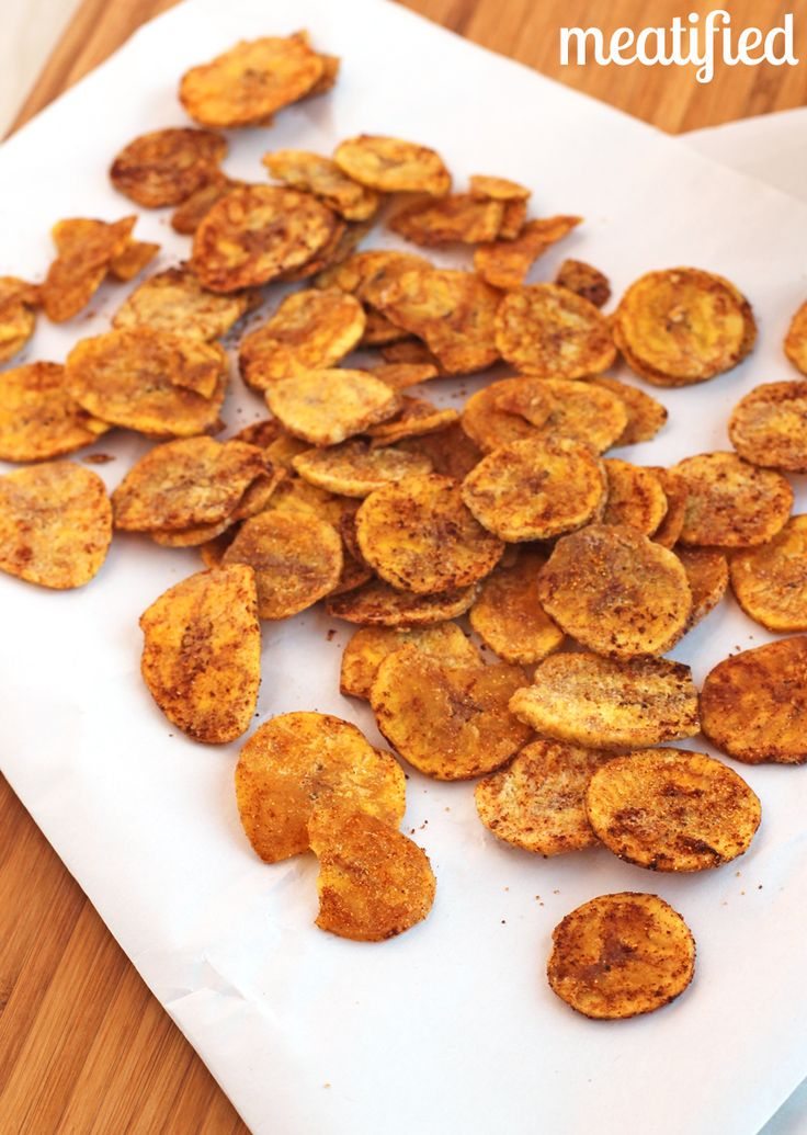 Lemon Garlic Plantain Chips from http://meatified.com #paleo #autoimmunepaleo