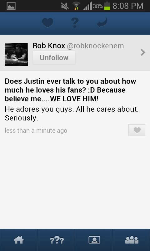 Rob Knox talks about Justin and his love for his fans.