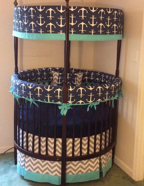 Anchor Round Crib Bedding Made To Order by butterbeansboutique